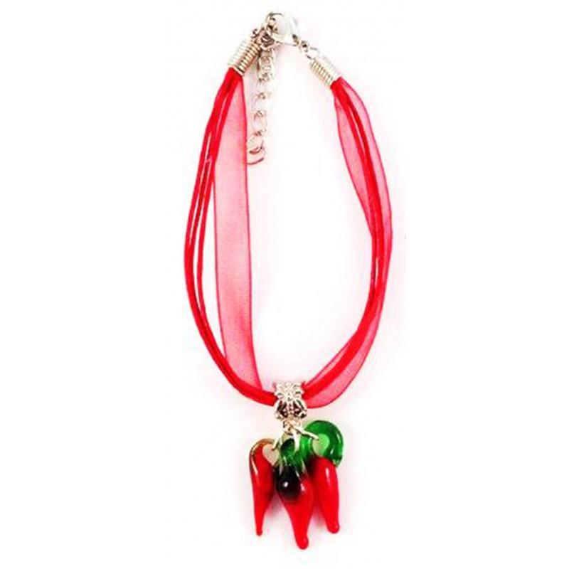Bracelet organza rouge 3 piments verre