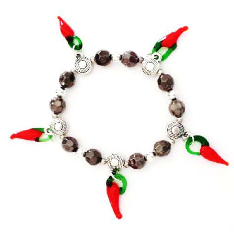 Bracelet perles grises 5 piments verre