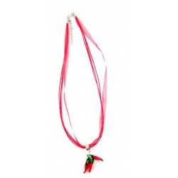 Collier organza rouge 3 piments