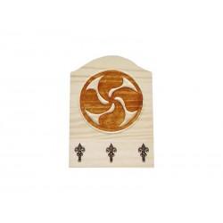 Porte clé en bois croix basque