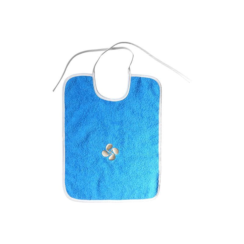Bavoir bleu en éponge croix basque